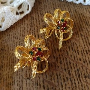 Gold mesh wire bows with rhinestones